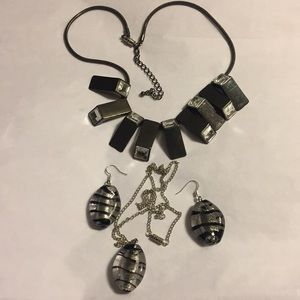 Vintage black/white necklaces, earrings